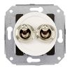 Double two-way switch, white / brass chrome-plated
