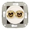 Double two-way switch, white / brass