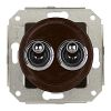 Double two-way switch, brown / brass chrome-plated