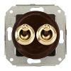 Double two-way switch, brown / brass