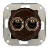 Double two-way switch, brown / varnished brass