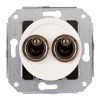 Double two-way switch, white / varnished brass