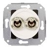 Rocking double pushbutton, white / brass crome-plated