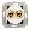 Rocking double pushbutton, white / brass