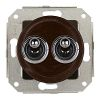 Rocking double pushbutton, brown / brass chrome-plated