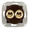 Rocking double pushbutton, brown / brass