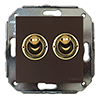 two-way switch, brown / golden, without frame